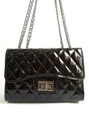 Bolsa bag carina preta - bolsa feminina, de ombro, para festas e eventos, couro ecológico