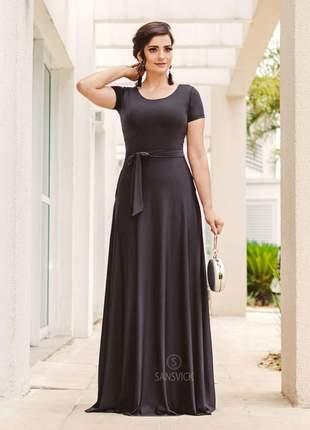 Vestido longo manga curta black com cinto