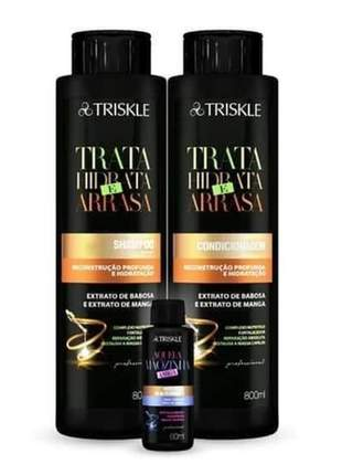 Kit triskle profissional trata hidrata e arrasa