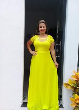 Vestido amarelo de festa elegante senhoras plus madrinhas formandas casamento