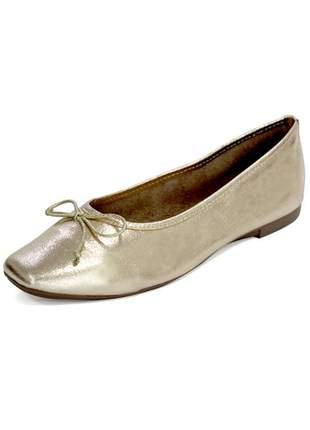 Sapatilha couro dali shoes bailarina dourada metalizada com brilho