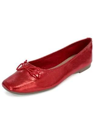 Sapatilha couro dali shoes bailarina vermelha metalizado com brilho