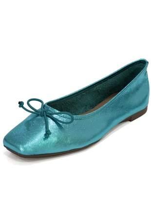 Sapatilha couro dali shoes bailarina turquesa metalziada com brilho