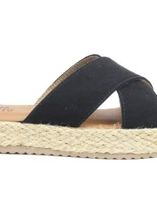 Sandália feminina preta salto corda tamanco