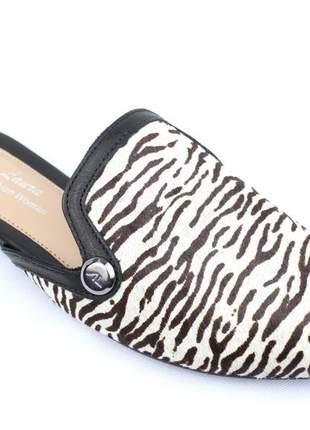 Mule feminino couro pelo zebra estampa animal print