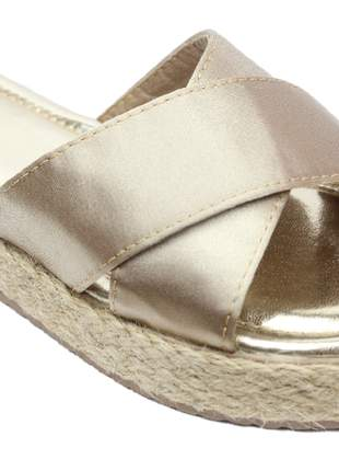 Sandália feminina anabela salto corda dourada champanhe