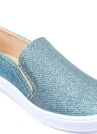 Tenis feminino slip on alpargata azul brilho