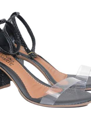 Sandália feminina preta salto grosso acrílico