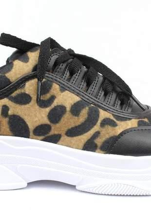 Tênis chunky  feminino  dad sneaker preto onça