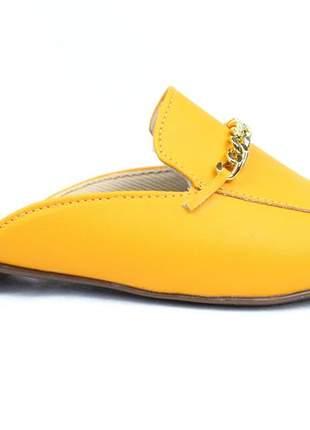 Mule feminino amarelo sapatilha tipo mule rasteira corrente