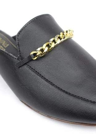 Mule feminino preto sapatilha tipo mule rasteira corrente