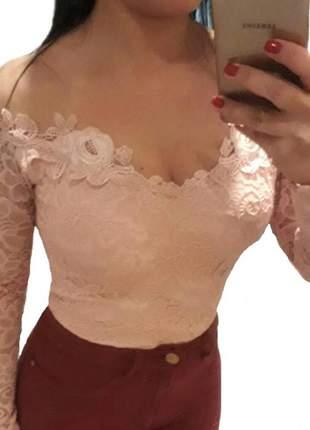 Body blusa feminina manga longa comprida renda tule rendado bojo