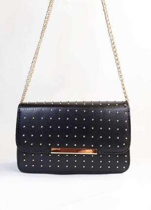 Bolsa bag marcela preta - bolsa feminina, tiracolo, casual e festa, couro ecológico