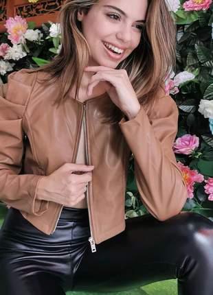 Jaqueta de couro ecologico  com ziper