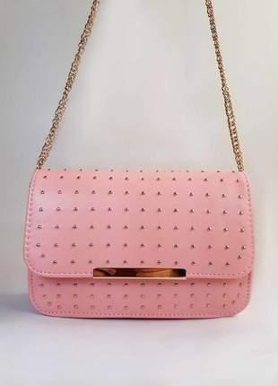 Bolsa bag marcela rosa - bolsa feminina, tiracolo, casual e festa, couro ecológico