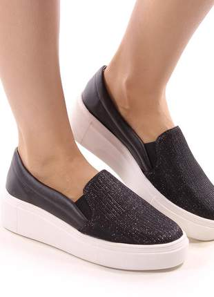 Sapato feminino tênis slip on gliter preta
