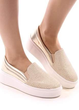 Sapato tênis slip on dourado ouro