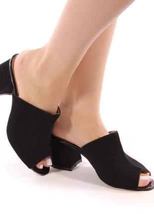 Sapato tamanco salto grosso nobuck preto
