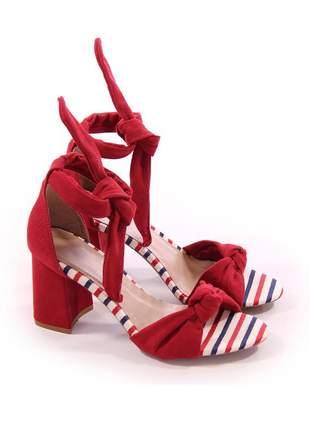 Sandalias femininas salto grosso de amarrar vermelha
