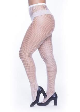 Meia calça arrastão perrutextil branca - trama pequena
