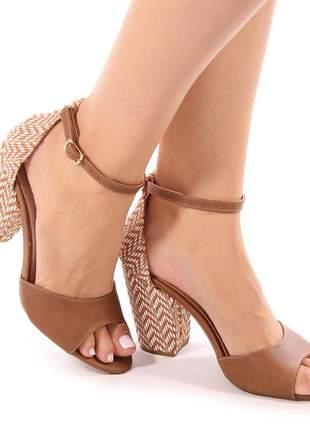 Sandalia sapato salto grosso caramelo / rafia