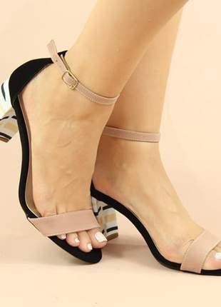 Sandalia salto grosso nude / preto
