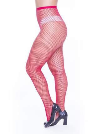 Meia calça arrastão perrutextil vermelha trama pequena