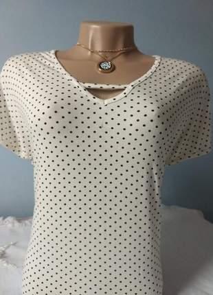 Blusinha feminina básica, plus size de bolinha
