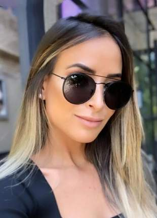 Óculos de sol double bridge feminino redondo várias cores