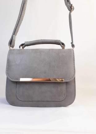 Bolsa bag daniela cinza - bolsa feminina, de mão e tiracolo, casual e festa