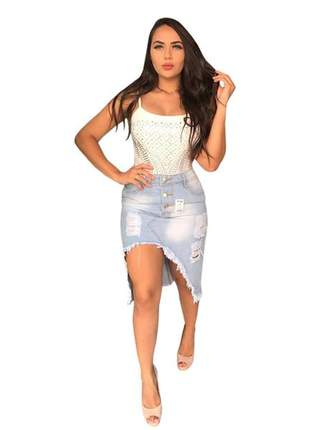 Saia midi jeans destroyed cintura alta roupas femininas