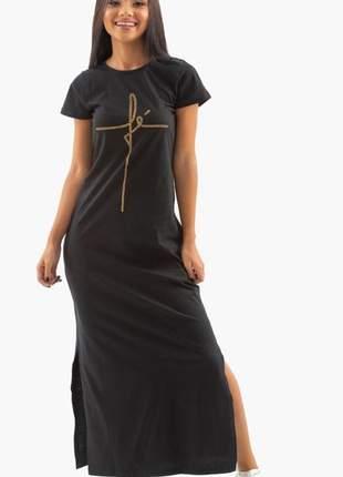 Vestido longo fé com pedras