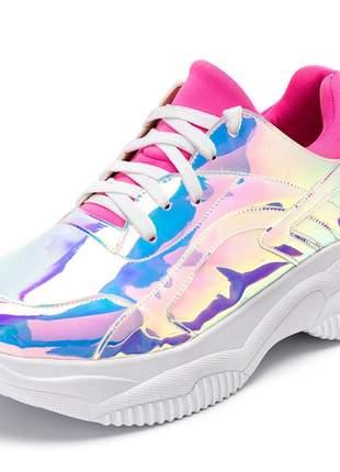 Tênis sneakers chunky metalizado holografico rosa pink