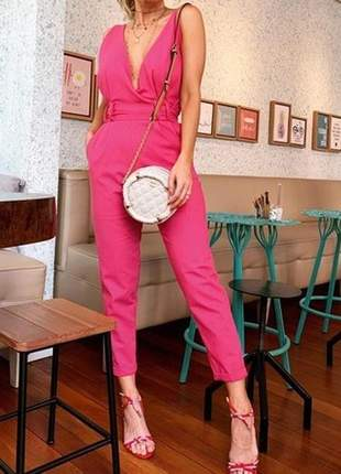 Macacão longo linho com cinto de tecido rosa