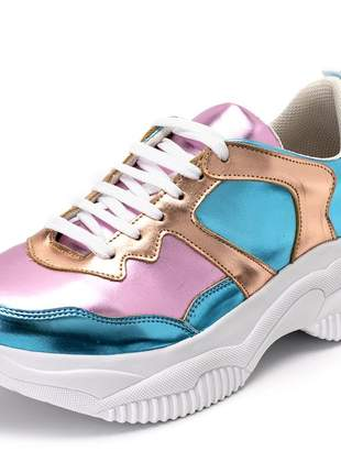 Tênis feminino sneakers chunky metalizado rosê dourado e azul