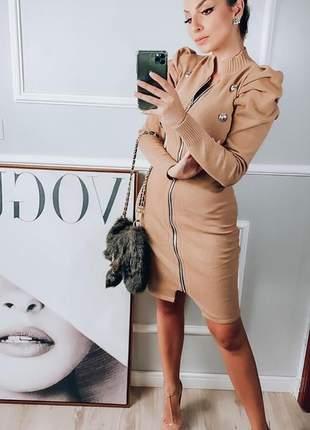 Vestido zíper modal com botões outono inverno 2020