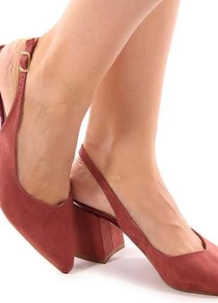 Sapato scarpin chanel nude/rose salto baixo grosso