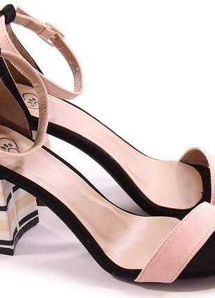 Sandália sapato social salto grosso nude com salto geométrico