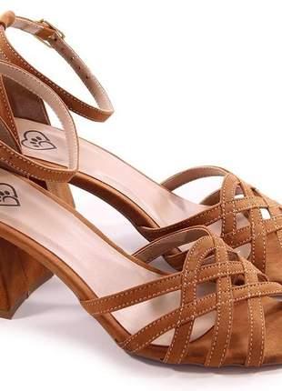´sapatos femininos sandalia salto grosso baixo social caramelo