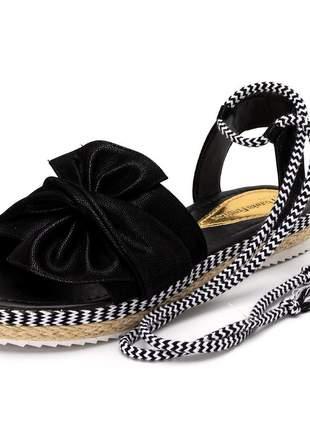 Sandália rasteira feminina preta laço amarrar na perna corda