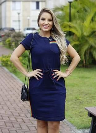 Vestido jeans feminino com listras e bolso