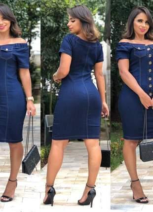 Vestido jeans com botões e bolso feminino moda secretaria evangelico
