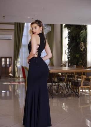 Vestido de festa preto longo formatura colação de grau madrinha de casamento