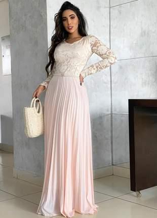 Vestido longo festa rose moda evangelica