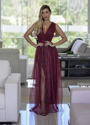 Vestido marsala longo festa madrinha de casamento formatura baile