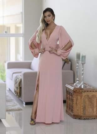 Vestido de festa rosa rose longo formatura baile madrinha de casamento