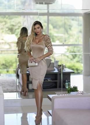 Vestido midi champagne nude festa formatura colação de grau