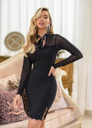 Vestido preto tubinho moda evangelica formatura colação de grau