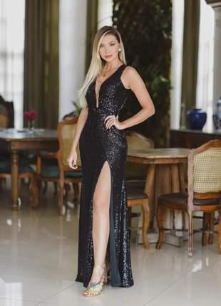 Vestido preto festa longo em paete formatura colação de grau madrinha de casamento