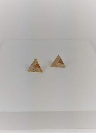 Brinco triângulo cravejado